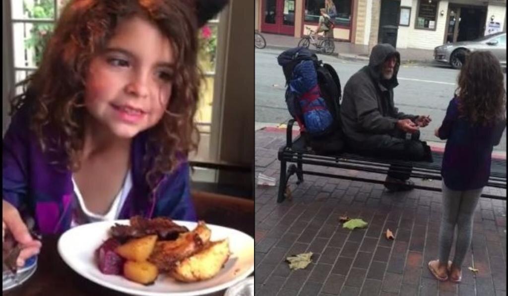Маленькая девочка поделилась едой с бездомным. Этот добрый поступок изменил его жизнь